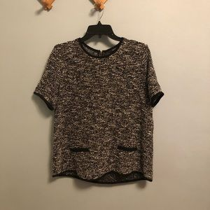 Forever 21 Tweed style top with zipper Sz L
